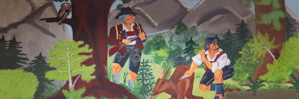 Wandmalerei im Schützenheim in Roding Schützenverein Altenkreith