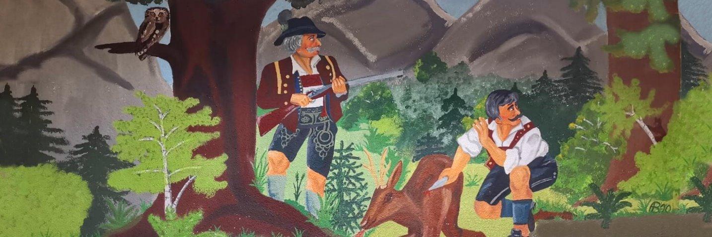 Wandmalerei im Schützenheim in Roding Altenkreith